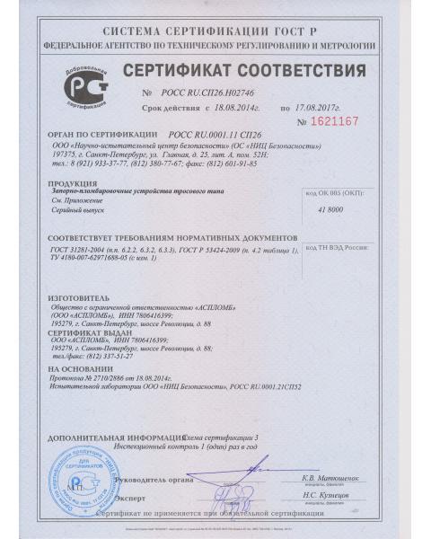 Сертификат Трос 1,5/1,8 Премиум, Трос 2П, Трос 2,5м